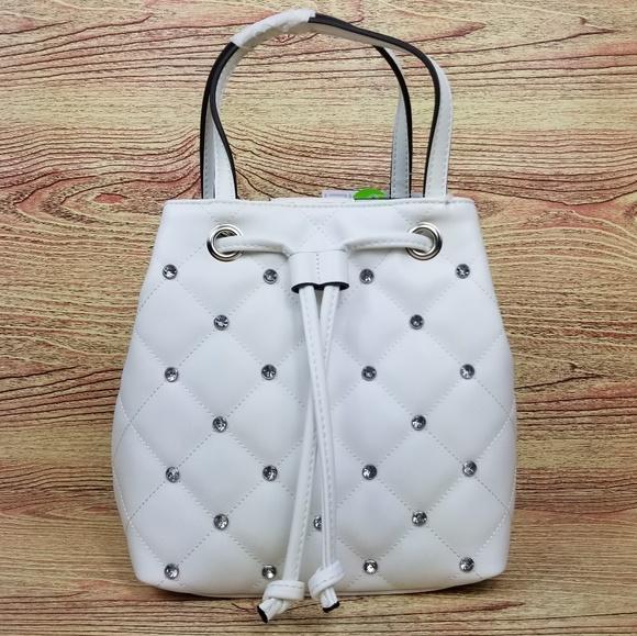 🆕️Liz Claiborne White Claudia Shopper Bag Jeweled 2350e7f4195e8